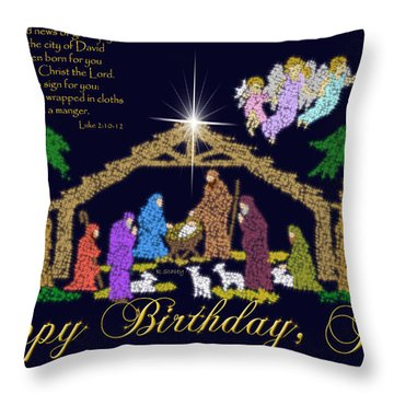 Happy Birthday Jesus Nativity Throw Pillow by Robyn Stacey