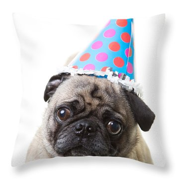 Happy Birthday Pug Card Throw Pillow by Edward Fielding
