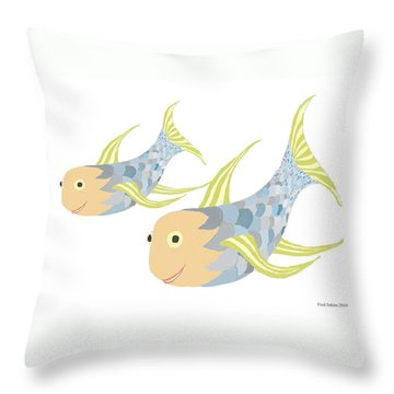 Happy Blue Fish Throw Pillow by Fred Jinkins