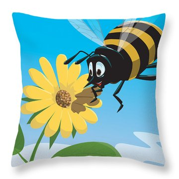 Happy Cartoon Bee With Yellow Flower Throw Pillow