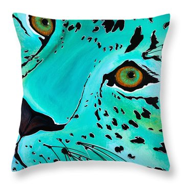 Throw Pillow featuring the painting Happy Cat by Dede Koll