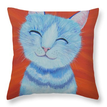 Throw Pillow featuring the painting Happy Cat by Mary Scott