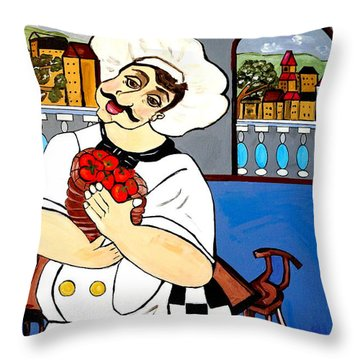 Throw Pillow featuring the painting Chef  Happy Chef by Nora Shepley