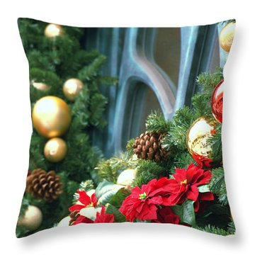 Happy Chirstmas Throw Pillow by Rachel Mirror