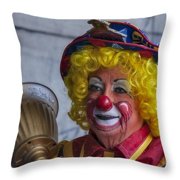 Happy Clown Throw Pillow by Susan Candelario