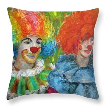Gemini Clowns Throw Pillow