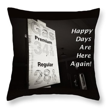 Throw Pillow featuring the photograph Happy Days Are Here Again Bw by Bob Pardue