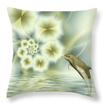 Happy Dolphin In A Surreal World Throw Pillow