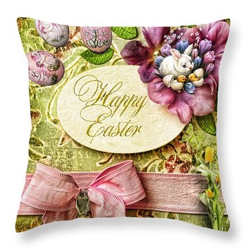 Happy Easter 2 Throw Pillow by Mo T