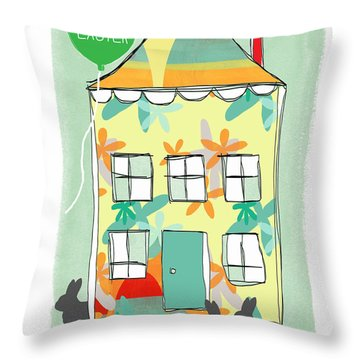 Happy Easter Card Throw Pillow by Linda Woods