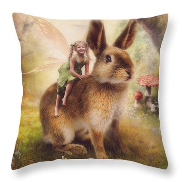 Happy Easter Throw Pillow by Cindy Grundsten
