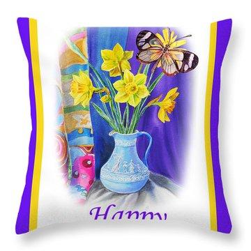 Happy Easter Daffodils Throw Pillow by Irina Sztukowski