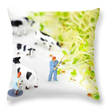 Happy Farm II Little People On Food Throw Pillow
