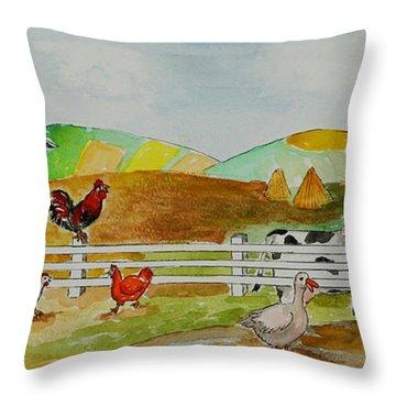 Happy Farm Throw Pillow