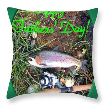 Happy Father's Day Throw Pillow by Joyce Dickens