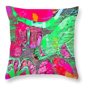 Happy Feet Abstract Photoart Throw Pillow by Debbie Portwood