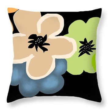 Throw Pillow featuring the digital art Happy Flowers Blue by Christine Fournier
