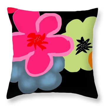 Throw Pillow featuring the digital art Happy Flowers Pink by Christine Fournier