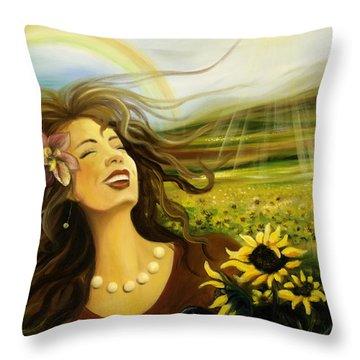 Happy Throw Pillow by Gina De Gorna