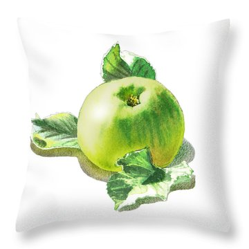 Throw Pillow featuring the painting Happy Green Apple by Irina Sztukowski