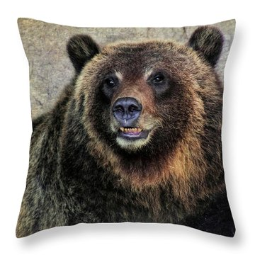 Happy Grizzly Bear Throw Pillow