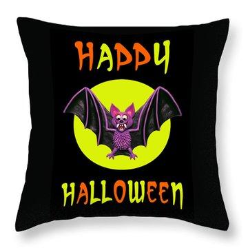 Happy Halloween Bat Throw Pillow by Amy Vangsgard