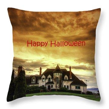 Happy Halloween Fiery Castle Throw Pillow by Eti Reid