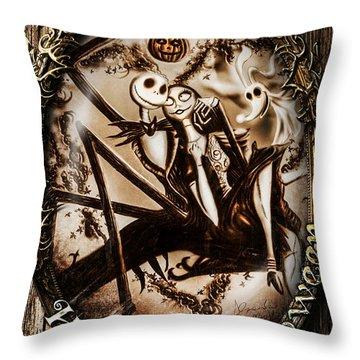 Happy Halloween IIi Sepia Version Throw Pillow