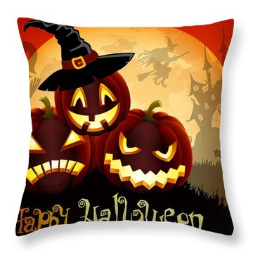 Throw Pillow featuring the painting Happy Halloween by Gianfranco Weiss