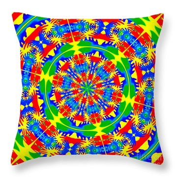Happy Hands Mandala Throw Pillow by Linda Weinstock