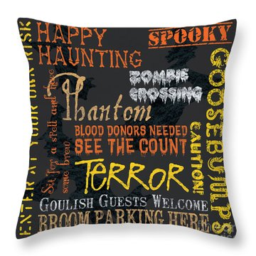 Happy Haunting Throw Pillow by Debbie DeWitt