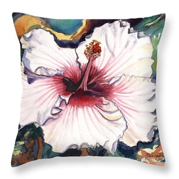 Throw Pillow featuring the painting Happy Hawaiian Hibiscus by Marionette Taboniar