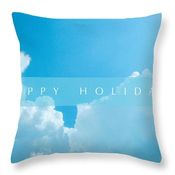 Happy Holidays Card Clouds Throw Pillow