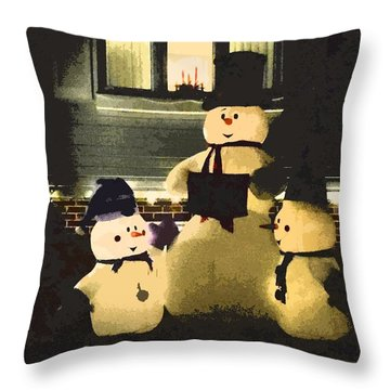 Happy Holidays From Snowmen Throw Pillow by Zinvolle Art