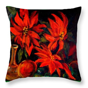 New Orleans Red Poinsettia Oil Painting Throw Pillow by Michael Hoard