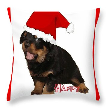 Happy Holidays Rottweiler Christmas Greetings  Throw Pillow by Tracey Harrington-Simpson