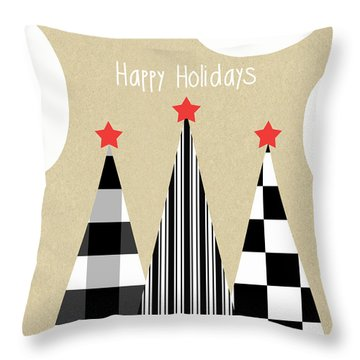 Happy Holidays With Black And White Trees Throw Pillow