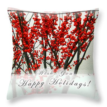 Happy Holidays Throw Pillow by Xueling Zou