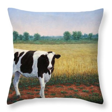 Happy Holstein Throw Pillow