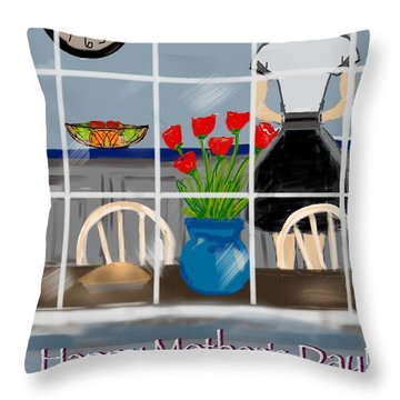 Throw Pillow featuring the digital art Happy Homemaker by Christine Fournier
