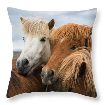 Happy Horse Friends In Iceland Throw Pillow