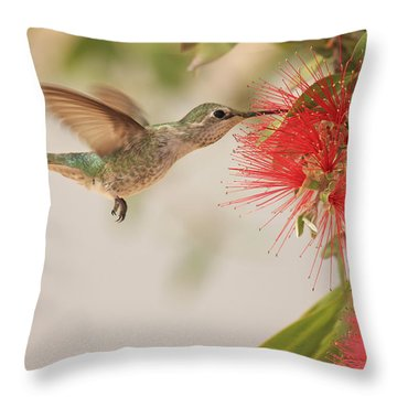 Happy Humming Throw Pillow