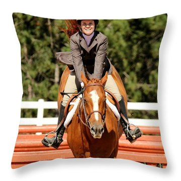 Happy Hunter Horse Throw Pillow