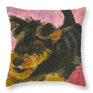 Throw Pillow featuring the painting Happy by Jeanne Fischer