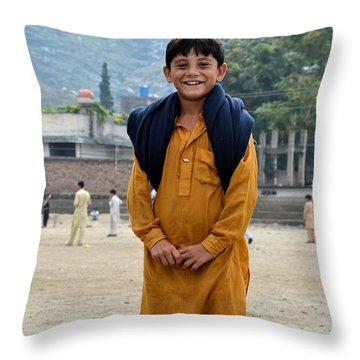 Throw Pillow featuring the photograph Happy Laughing Pathan Boy In Swat Valley Pakistan by Imran Ahmed
