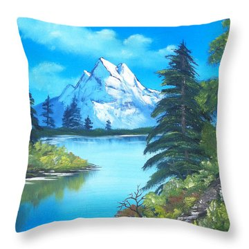 Happy Little Trees Throw Pillow by Faye Symons