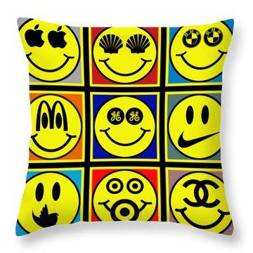 Happy Logos Throw Pillow by Tony Rubino