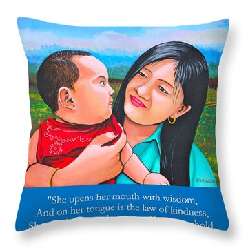 Happy Mom And Babe Throw Pillow
