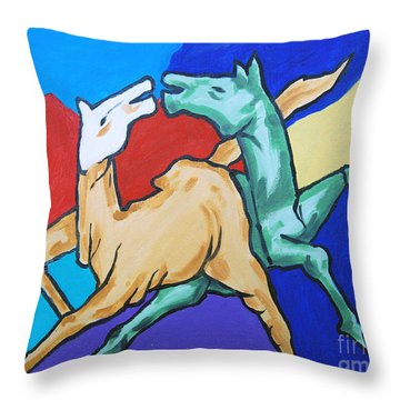 Throw Pillow featuring the painting Happy Mood by Ragunath Venkatraman