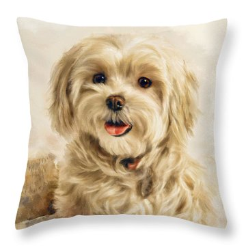 Maltese Happy New Year Throw Pillow